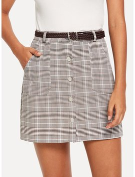 button-detail-plaid-skirt-with-belt by romwe