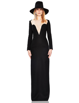 wool-plunging-long-sleeve-gown by saint-laurent