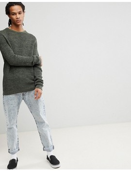 tommy-jeans-waffle-knit-jumper-crew-neck-in-green-marl by hilfiger-denim