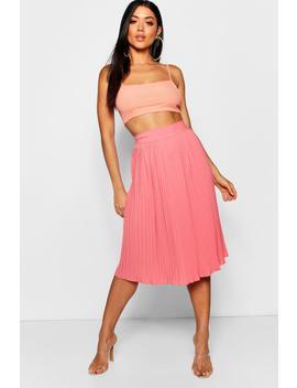 pleated-woven-crepe-midi-skirt by boohoo