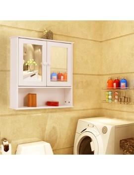 costway-new-bathroom-wall-cabinet-double-mirror-door-cupboard-storage-wood-shelf-white by costway