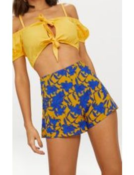 mustard-floral-print-shorts by prettylittlething
