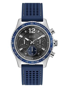 blue-and-rose-gold-tone-watch by guess