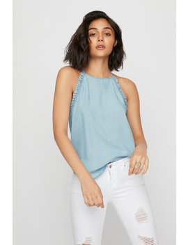 high-neck-ruffle-chambray-blouse by urban-planet