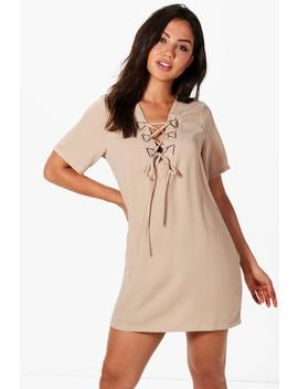 triangle-metal-detail-lace-up-shift-dress by boohoo