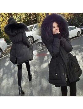 faux-fur-collar-hooded-mid-long-womens-overcoat-parka-jacket-cotton-padded-coat by unbranded