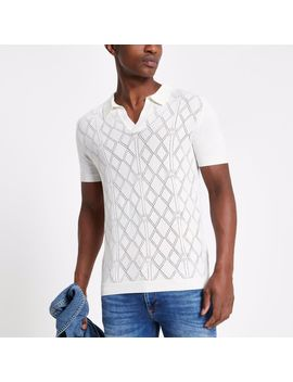 ecru-pointelle-slim-fit-polo-shirt by river-island