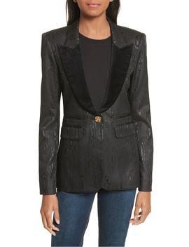 velvet-trim-moiré-peak-lapel-blazer by smythe