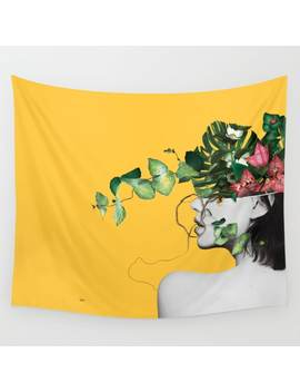 lady-flowers-wall-tapestry by linco7n