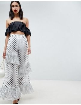 asos-design-pants-in-polka-dot-spot-mesh-with-frill-detail by asos-design