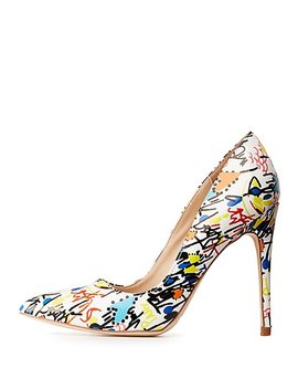 Graffiti Pointed Toe Pumps by Charlotte Russe