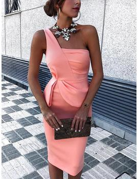 solid-color-one-shoulder-ruched-bodycon-dress by ivrose
