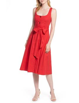 button-front-fit-&-flare-midi-dress by 1901