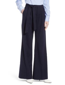 tie-waist-wide-leg-stretch-crepe-pants by halogen®