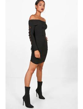 lace-up-sleeve-bodycon-dress by boohoo