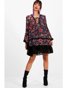 lace-up-flute-sleeve-printed-dress by boohoo
