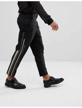 asos-tapered-smart-pants-in-black-with-tape-detail by asos