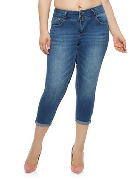 plus-size-wax-2-button-solid-push-up-jeans by rainbow