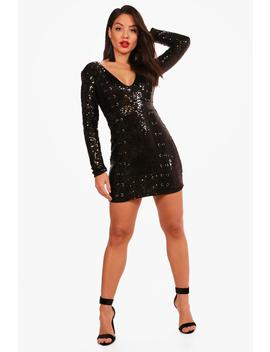 boutique-sequin-lace-up-bodycon-dress by boohoo