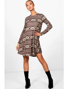 aztec-brushed-knitted-swing-dress by boohoo