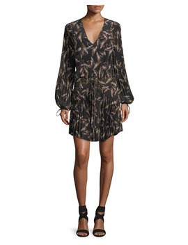rory-v-neck-long-sleeve-silk-printed-dress by alc