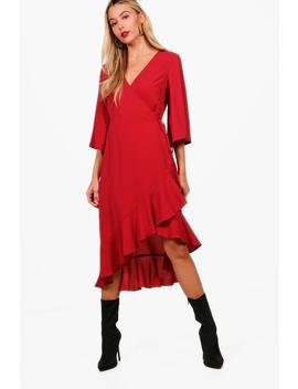 fluted-sleeve-ruffle-hem-wrap-tea-dress by boohoo