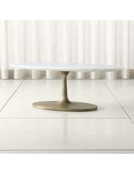 Nero White Marble Oval Coffee Table by Crate&Barrel