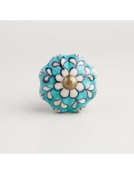 turquoise-ceramic-knobs,-set-of-2 by world-market