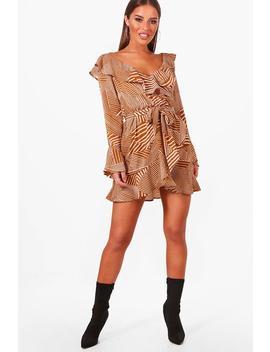 petite-printed-bardot-woven-wrap-dress by boohoo