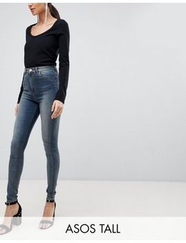 asos-design-tall-ridley-high-waist-skinny-jeans-in-linka-vintage-blue-wash by asos-design