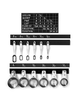 """n-&-p-products-175""""-measuring-cup-&-spoons-+-in-cabinet-door-hanging-holder-kit-+-labels,-conversion-chart-&-bonus-coffee-scoop!-perfect-for-cooking-and-baking!-easy-to-install! by n-&-p-products"""