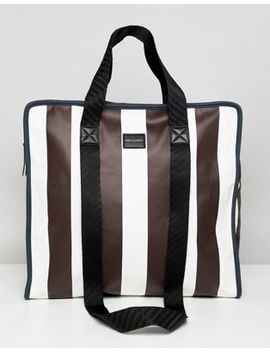 asos-design-large-shopper-bag-in-white-and-burgundy-stripe by asos-design