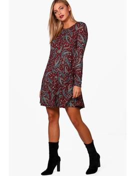 paisley-brushed-knit-swing-dress by boohoo