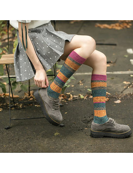 women-breathable-patchwork-cotton-piles-socks-harajuku-hosiery-style-elastic-stockings by newchic