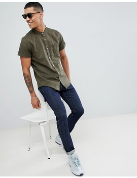 pull&bear-short-sleeved-grandad-collar-shirt-in-khaki by pull&bear
