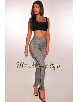 """Plaid Houndstooth """"Nice"""" Striped Sides Pants by Hot Miami Style"""