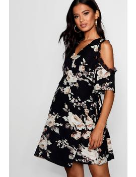 maternity-zoey-lace-trim-floral-wrap-dress by boohoo