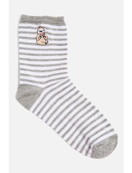 embroidered-sloth-striped-socks by topshop
