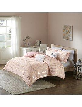 intelligent-design-raina-comforter-set-twin_twin-xl-size---blush-gold,-geometric-–-4-piece-bed-sets-–-ultra-soft-microfiber-teen-bedding-for-girls-bedroom by intelligent-design