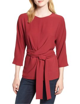 dolman-sleeve-tie-back-stretch-crepe-blouse by gibson