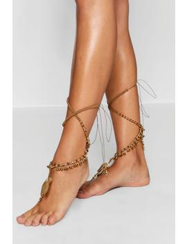 bead-and-tassel-statement-leg-tie-pair by boohoo