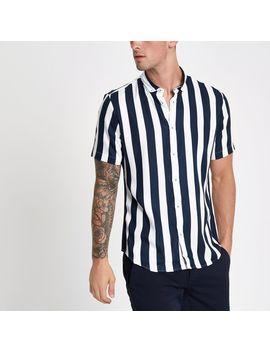 chemise-slim-rayée-blanche by river-island