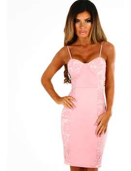 lola-pink-lace-panel-bustier-mini-dress by pink-boutique