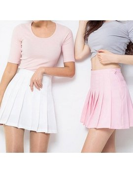 women-high-waist-zip-slim-tennis-plain-skater-pleated-short-skirts-school-girls-mini-skirt by efinny