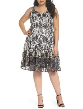 printed-lace-fit-&-flare-dress by gabby-skye