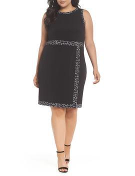 print-trim-mock-wrap-sheath-dress by michael-michael-kors