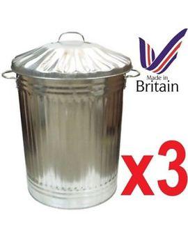 3-x-large-90l-litre-galvanised-metal-bin-rubbish-dustbin-animal-feed-storage by ebay-seller