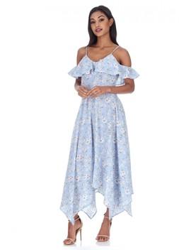 Blue Floral Cut Out Shoulder Dress by Ax Paris