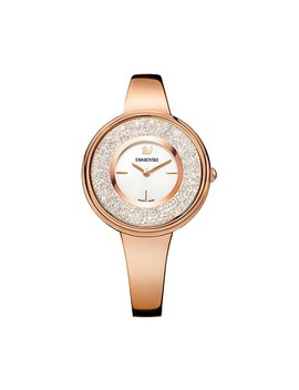crystalline-pure-watch,-metal-bracelet,-white,-rose-gold-tone by swarovski-crystal