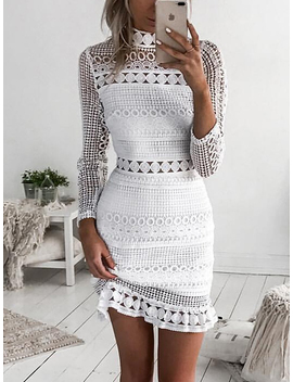 White High Neck Cut Out Detail Long Sleeve Lace Mini Dress by Choies